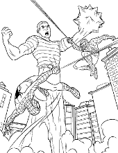 Spiderman fight coloring sheet