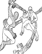 Spiderman fight coloring books