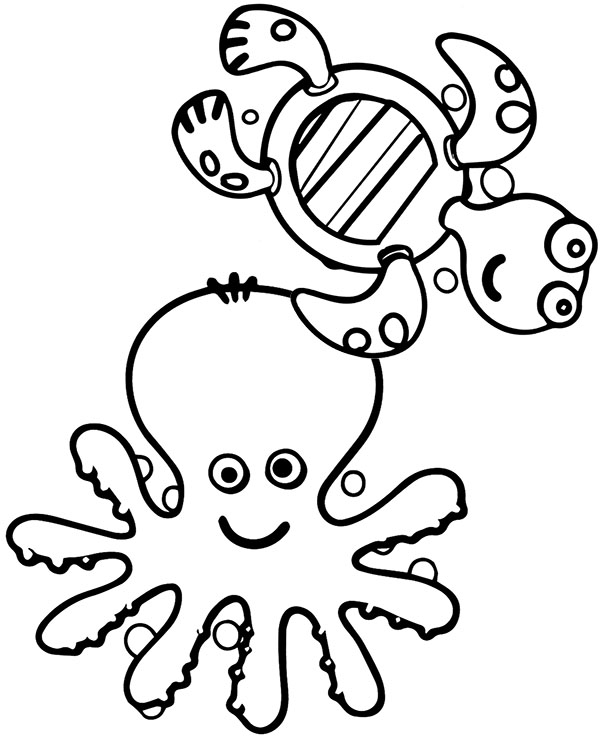 Octopus Tortoise Easy Coloring Page Printable Worksheet