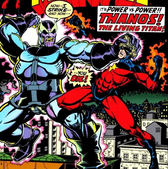 thanos combat captain Marvel