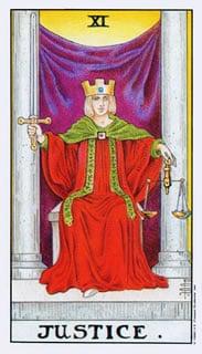 Justice Gerechtigheid Tarotkaart