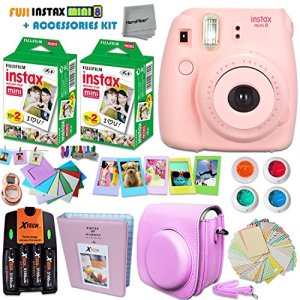 FujiFilm-Instax-Mini-8-Camera-PINK-Accessories-KIT-for-Fujifilm-Instax-Mini-8-Camera-includes-40-Instax-Film-Custom-Case-4-AA-Rechargeable-Batteries-Assorted-Frames-Photo-Album-MORE-0