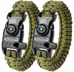 A2S-Paracord-Bracelet-K2-Peak-Series-Survival-Gear-Kit-with-Embedded-Compass-Fire-Starter-Emergency-Knife-Whistle-Pack-of-2-Quick-Release-Slim-Hiking-Gear-Green-Green-0