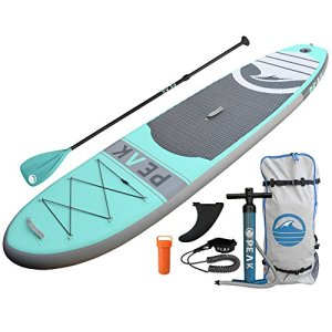 PEAK-Inflatable-Stand-Up-Paddle-Board-with-Adjustable-Paddle-Travel-Backpack-and-Coil-Leash-128-x-31-x-6-Inches-Aqua-0