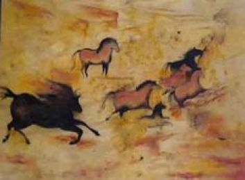 kresba koni  jaskynné maľby koní