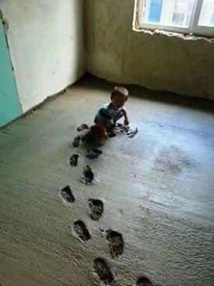 dieťa v betone
