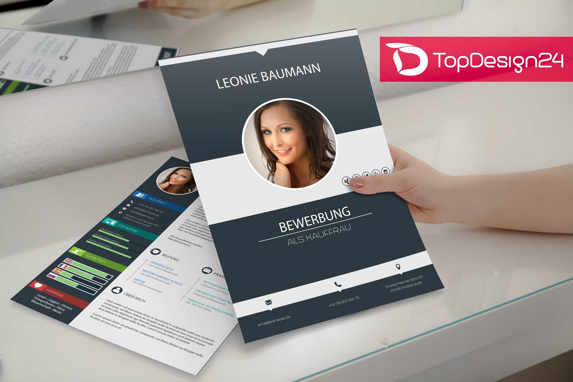 Design Bewerbung Kreativ - TopDesign24, Deckblatt, Lebens