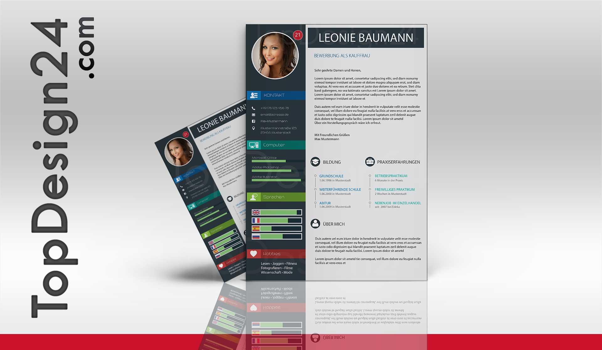 Design Bewerbung Kreativ - Deckblatt Word Vorlage 2015