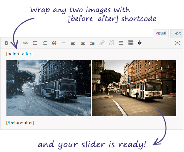 Before After WordPress Shortcode