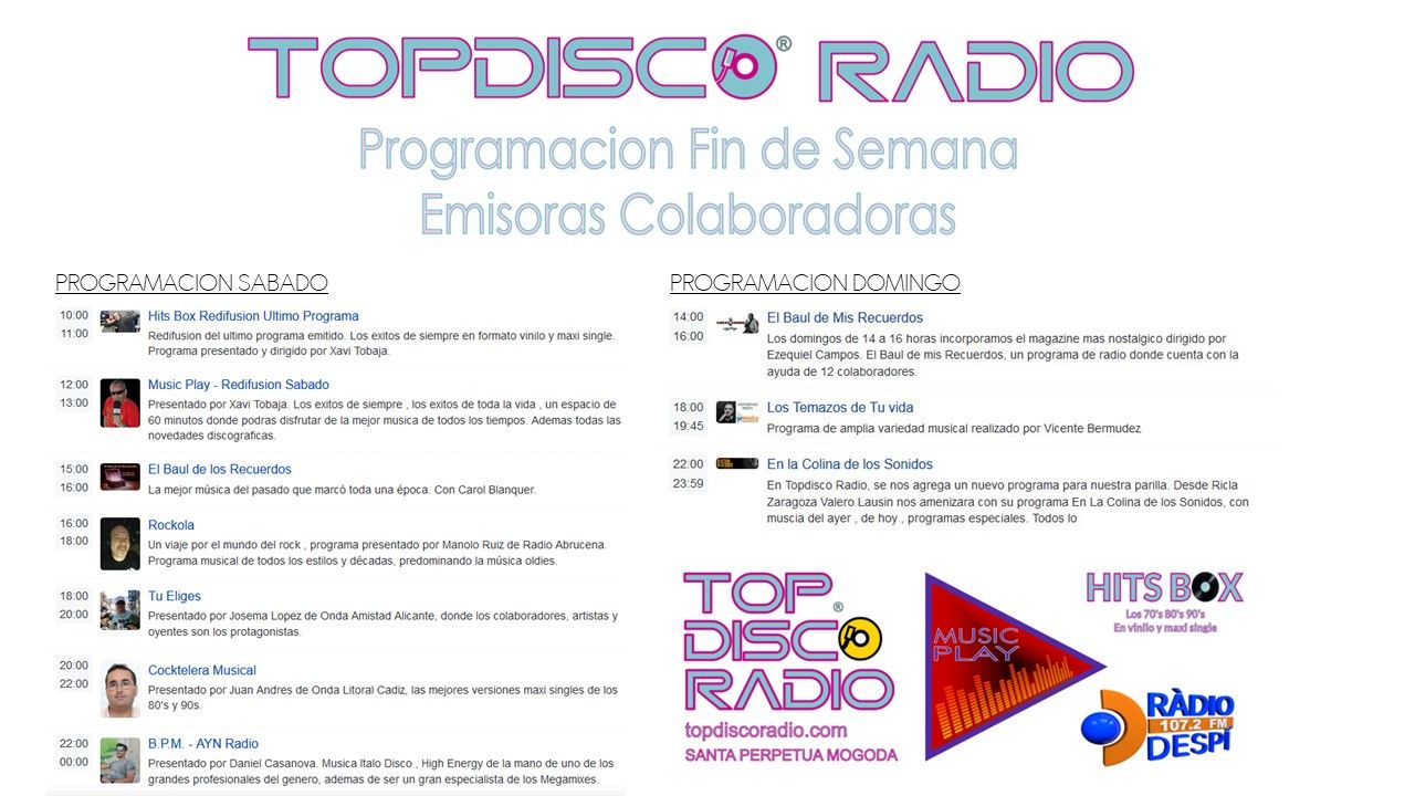 TOPDISCO RADIO PROGRAMACION FIN DE SEMANA 2021-22 EMISORAS COLABORADORAS, SABADOS Y DOMINGOS LOS MEJORES ESPACIOS MUSICALES