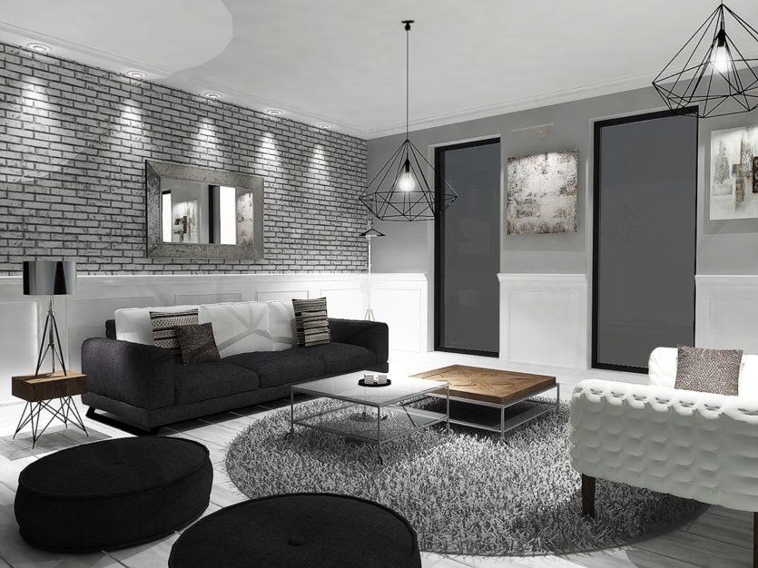 черно белые фото в интерьере гостиной них можно