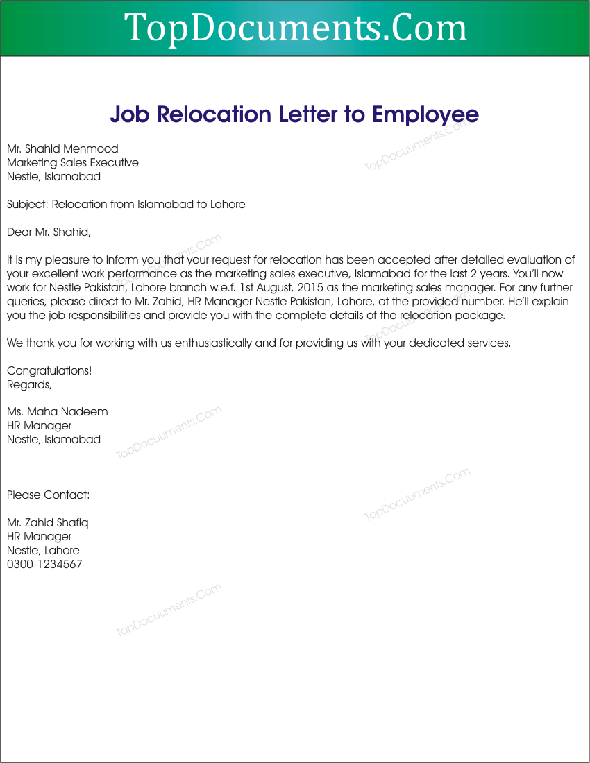 Job Relocation Letter from Employer Sample – Top Docx