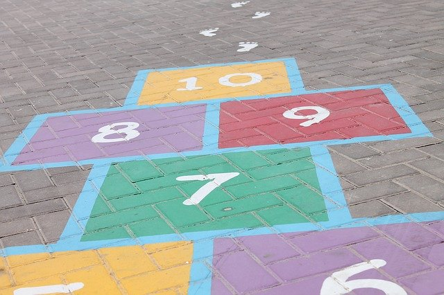 A hopscotch board with numbers ending in 10, representing the 10-step law firm marketing plan and checklist presented by TOPDOG Legal Marketing.