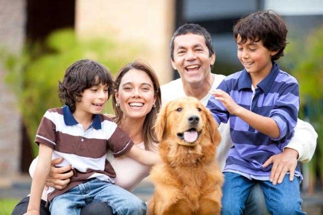 Golden Retriever and a family with kids