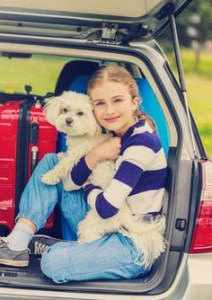 A girl traveling in a car with a dog