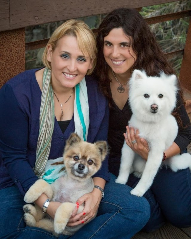 Paola Anderson with Sherman (left) and Sarah Godfrey with Momo (right). Photo: Helén Thompson