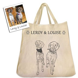 Custom Dog, Cat or Pet Outline Drawing on An Extra Large Eco-Friendly Reusable Cotton Twill Tote Bag