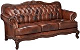 Coaster Home Furnishings Victoria Traditional Rolled Arm Tufted Stationary Three-Seater Sofa