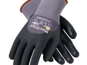 ATG 34-845 MaxiFlex Endurance Nylon, Micro-Foam Nitrile 3/4 Grip Gloves, Large, Black/Gray, 12 Pair per Pack