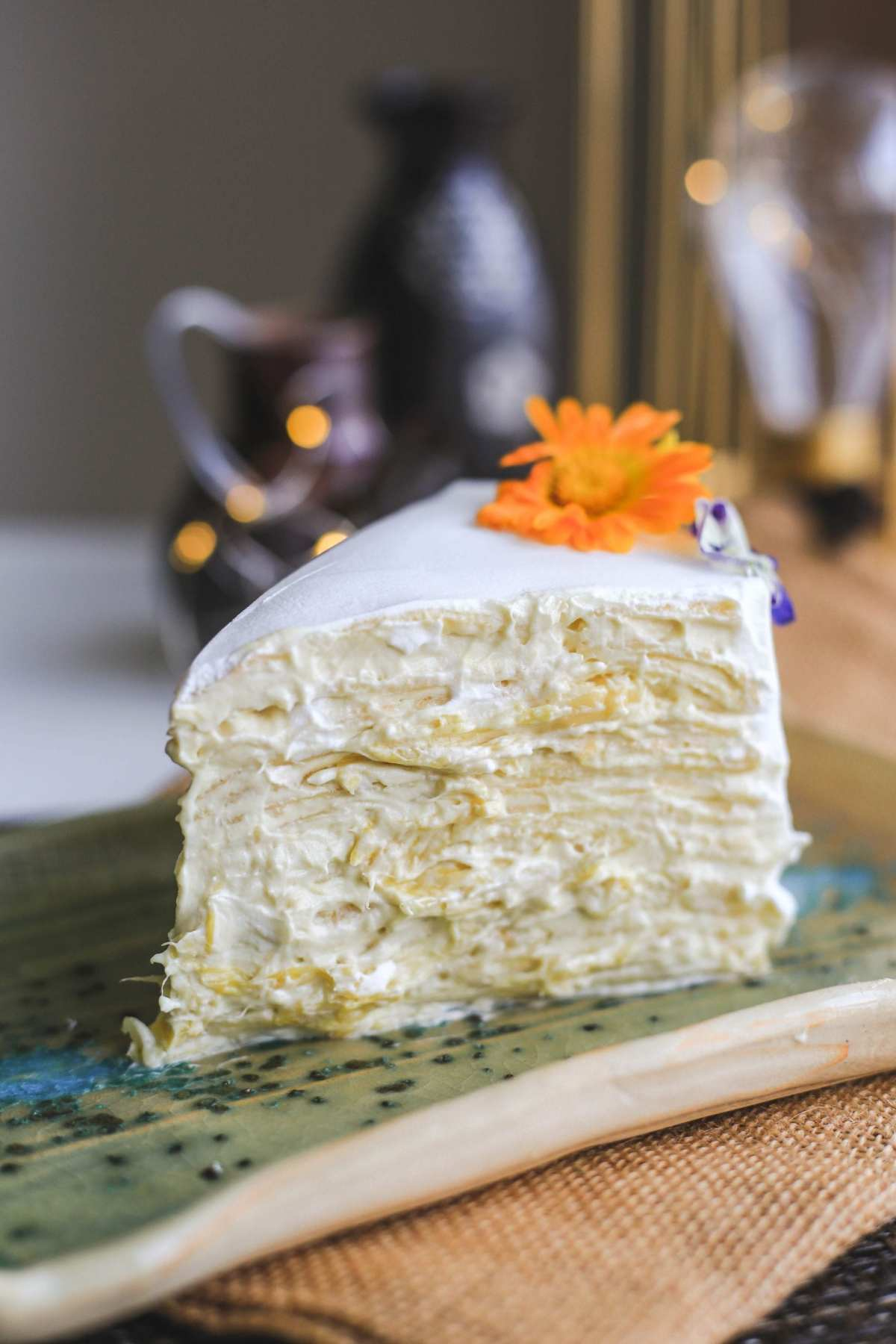 """Premium Musang King Mille Crepe Cake 7"""" (9) 