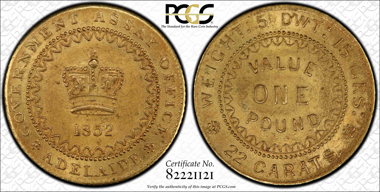 Adelaide Pound 1852 Type II PCGS MS63