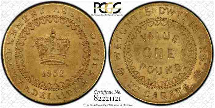 Adelaide Pound 1852 Type II PCGS MS63