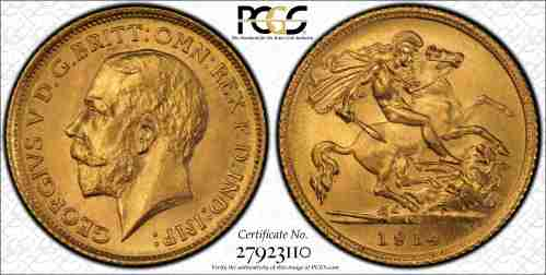 Australia 1914S Half Sovereign PCGS MS64