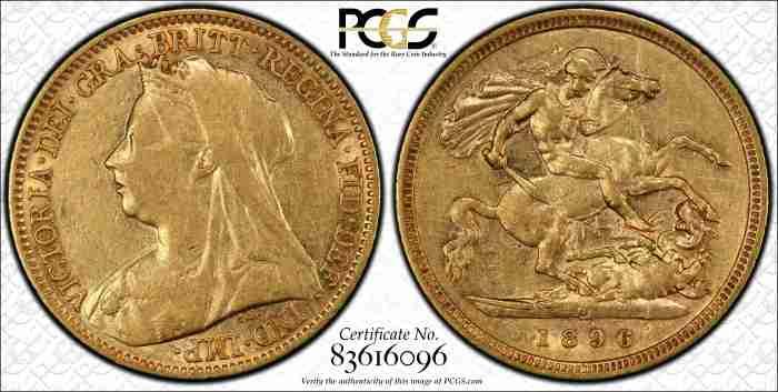 Australia 1896M Half Sovereign PCGS XF45