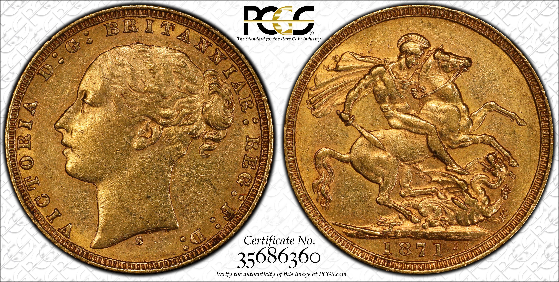 Australia 1871 Sydney Sovereign Large BP PCGS AU55