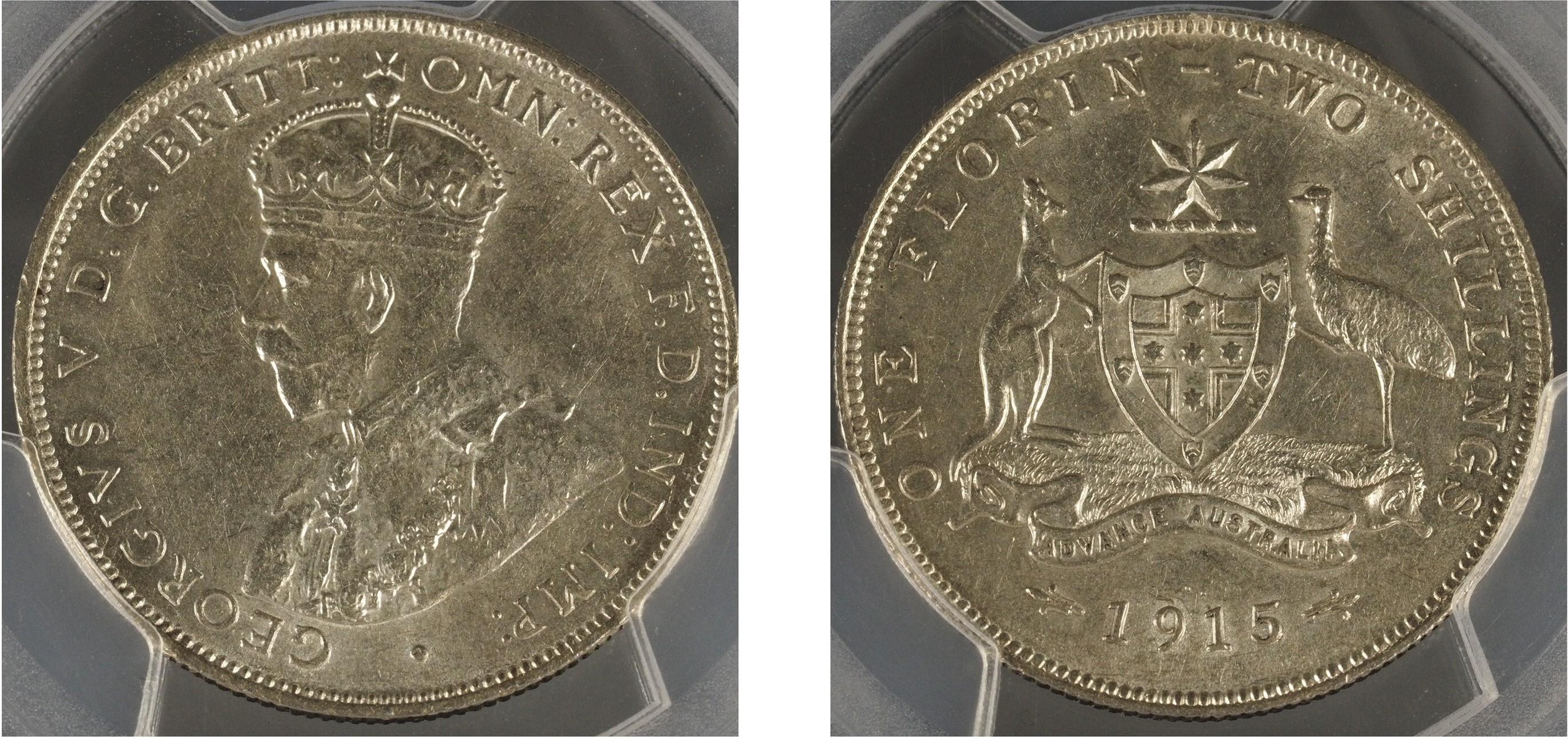 Australia 1915L Florin PCGS AU58