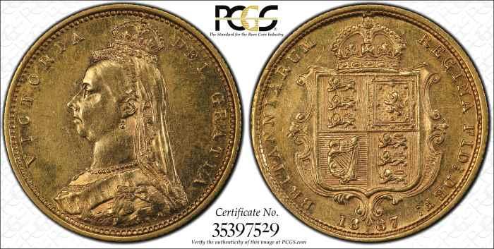 Australia 1887S Half Sovereign PCGS AU58