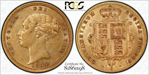 Australia 1883 Sydney Half Sovereign PCGS AU53