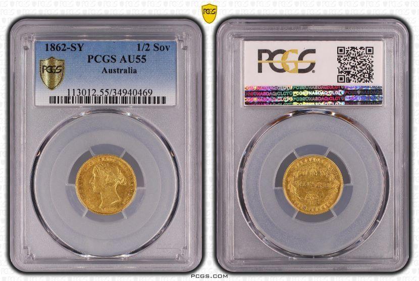 Australia 1862 Sydney Half Sovereign PCGS AU55