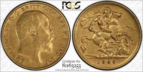 Australia 1906 Melbourne Half Sovereign PCGS XF45