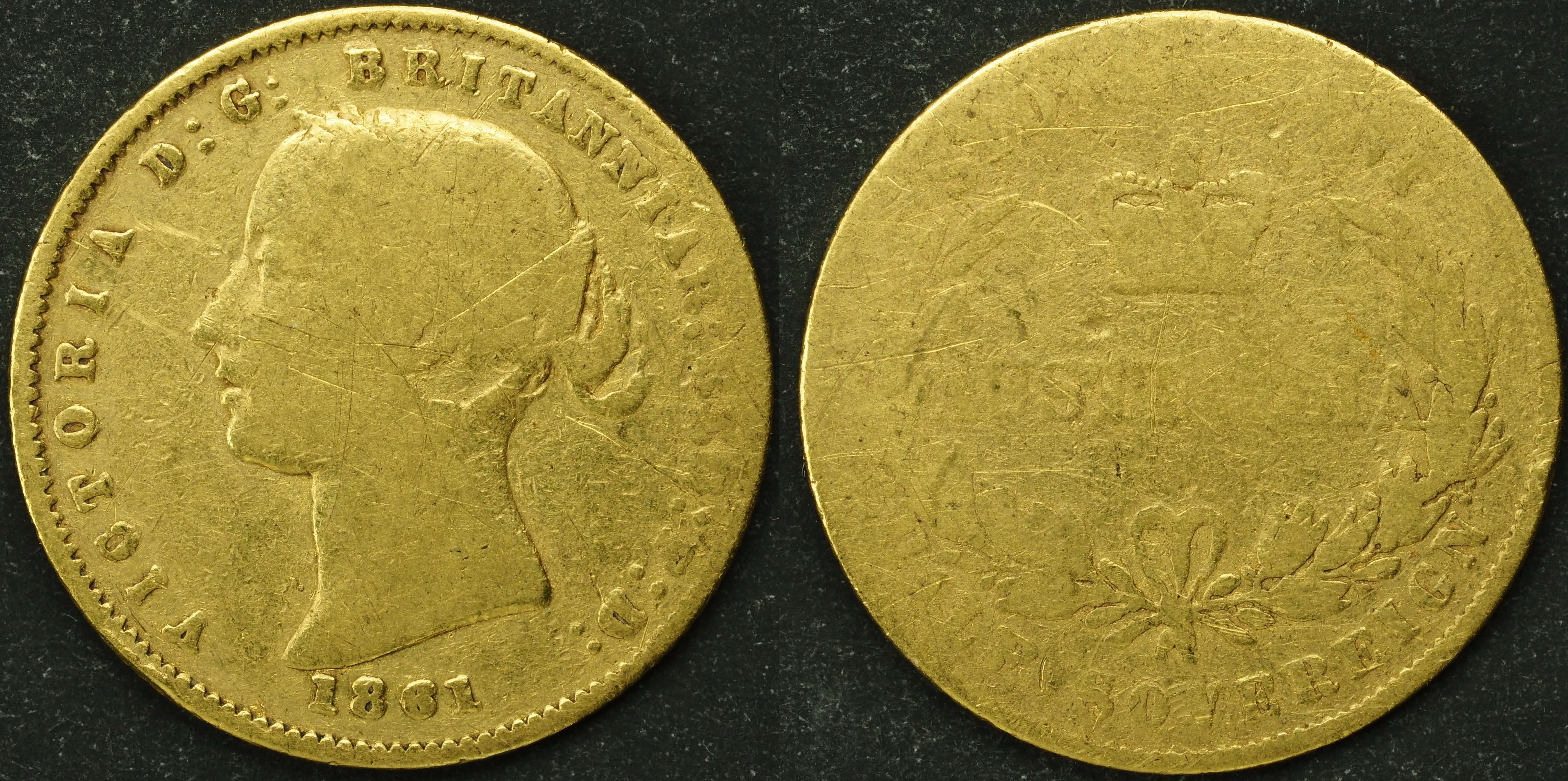Australia 1861 Sydney Half Sovereign Bullion Grade