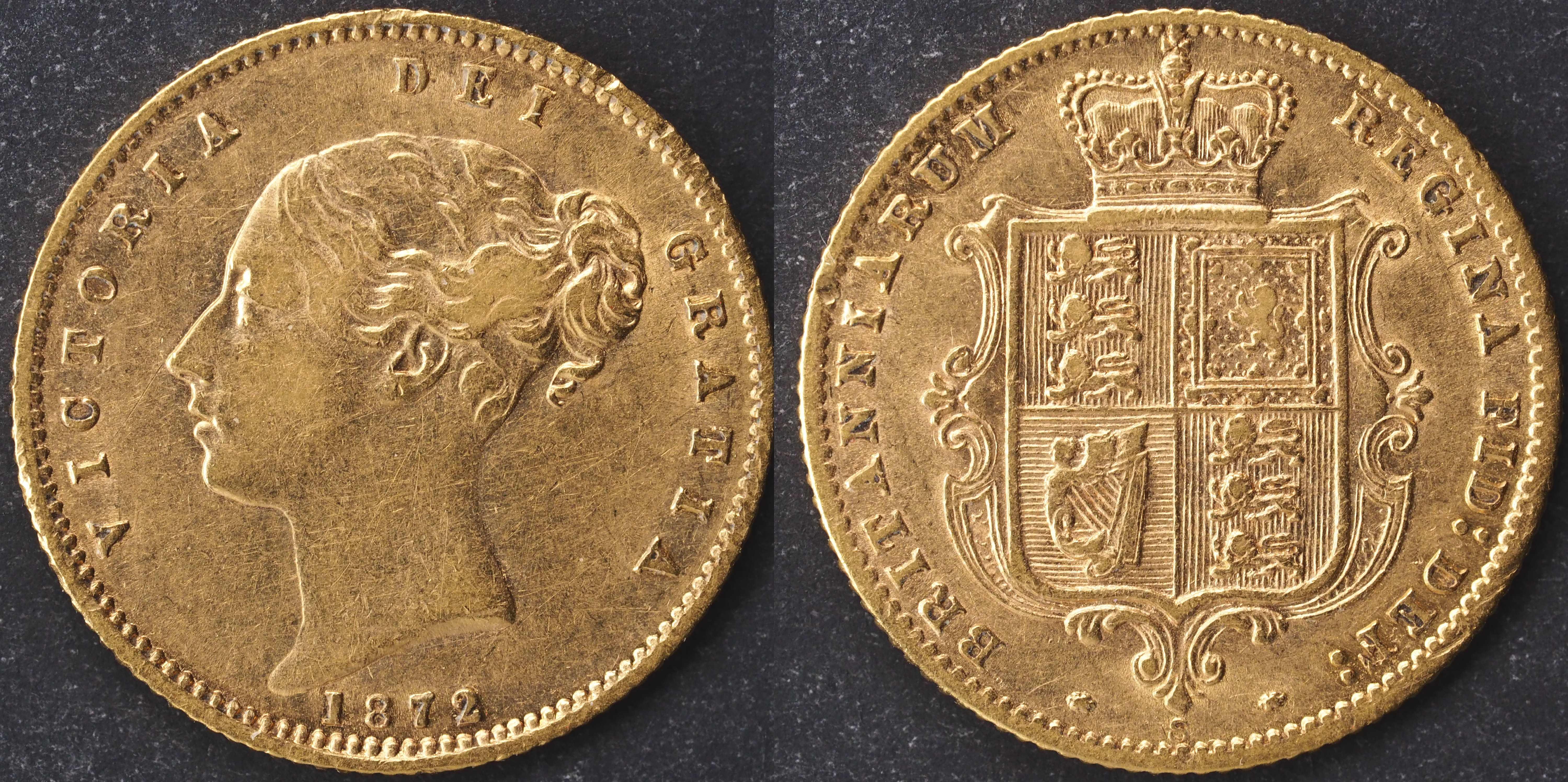 Australia 1872 Sydney Half Sovereign EF