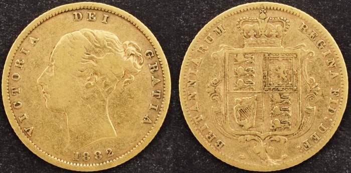 Australia 1882 Melbourne Half Sovereign VF