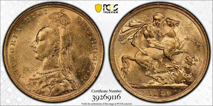 Australia 1890 Sydney Jubilee Sovereign PCGS MS61