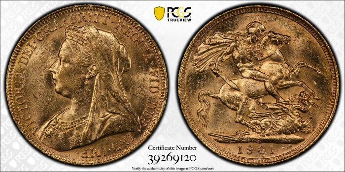 Australia 1901 Sydney Sovereign PCGS MS61