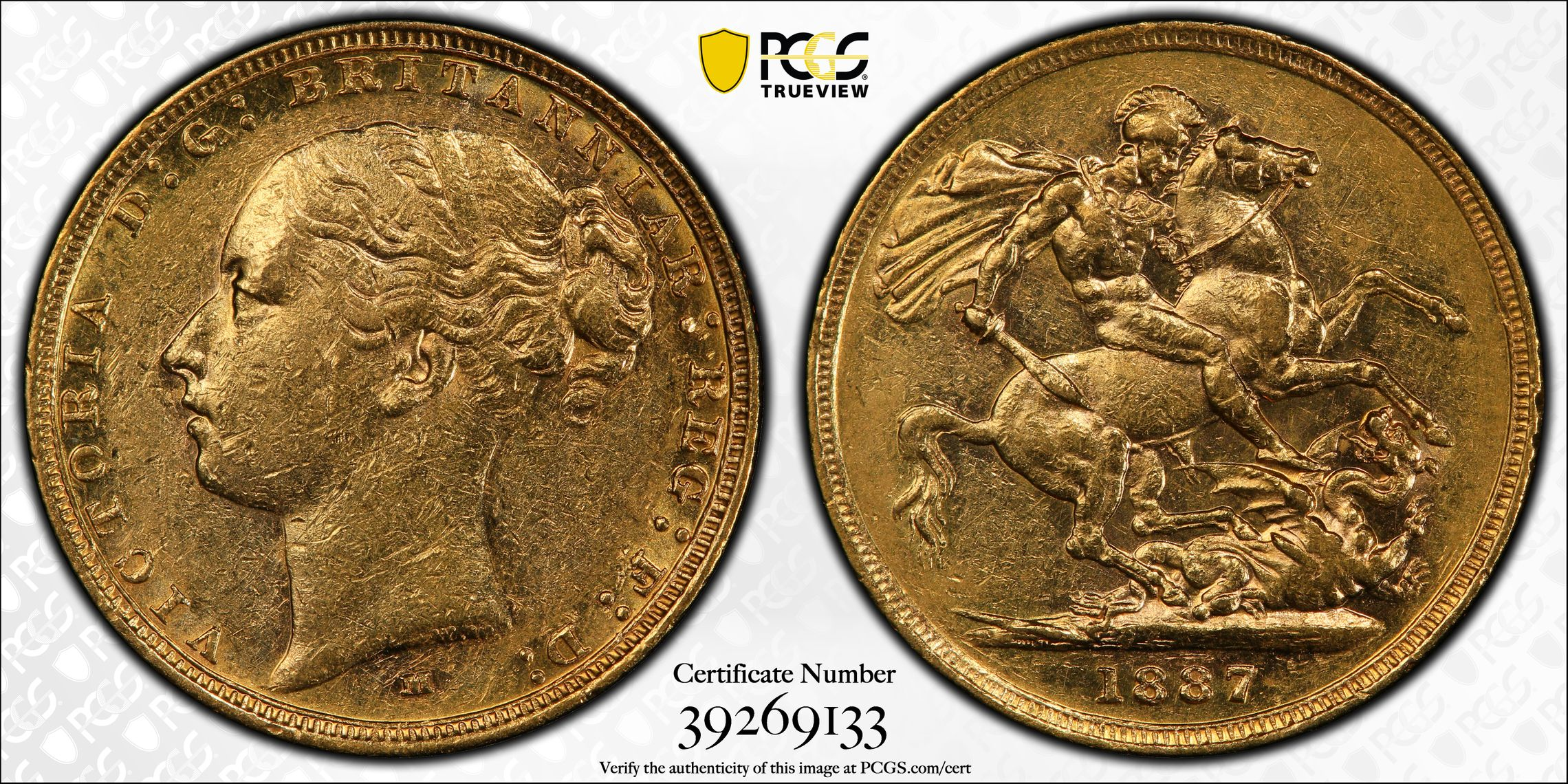 Australia 1887 Melbourne Sovereign PCGS AU53
