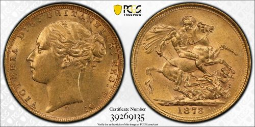 Australia 1873 Melbourne Sovereign PCGS AU58