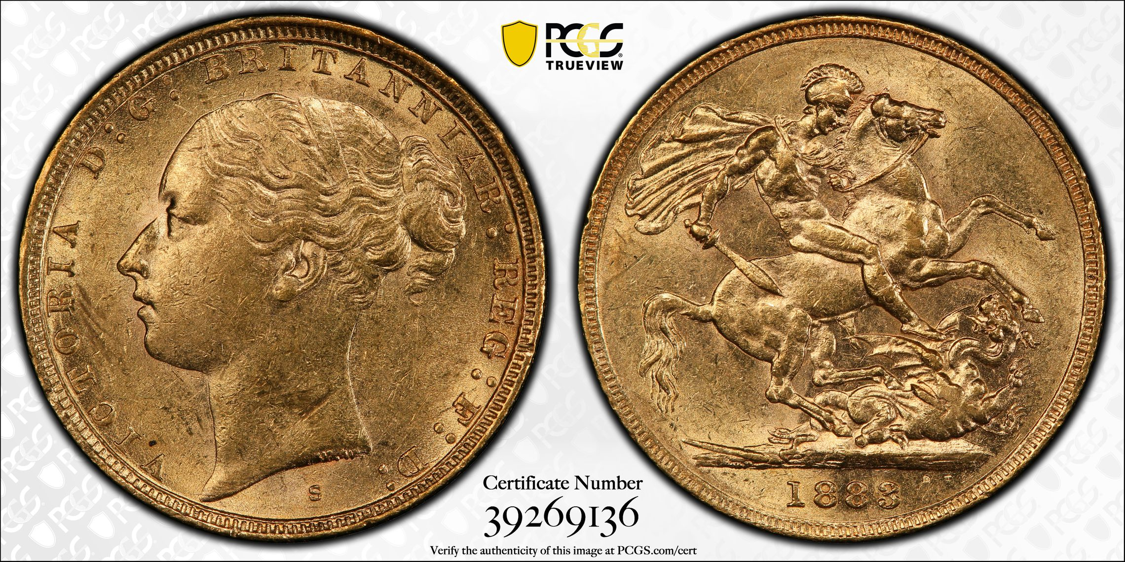 Australia 1883 Sydney Sovereign PCGS AU55