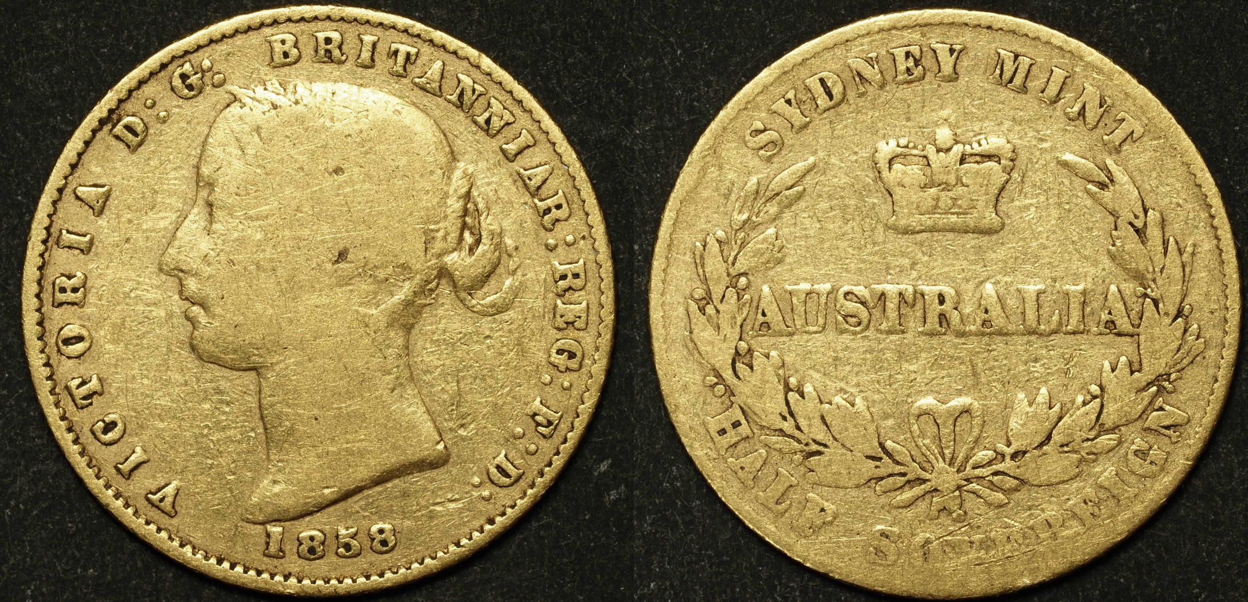 Australia 1858 Sydney Half Sovereign VG
