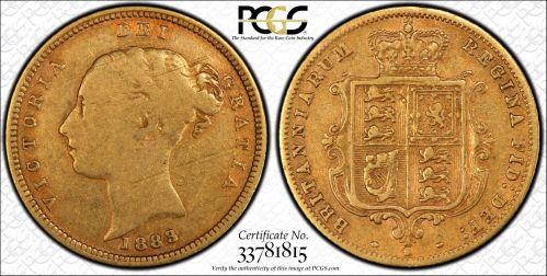 Australia 1883 Sydney Half Sovereign PCGS F12