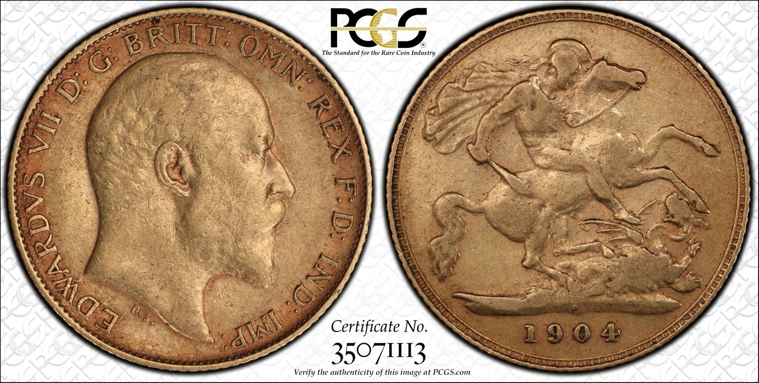 Australia 1904 Perth Mint Half Sovereign PCGS XF40