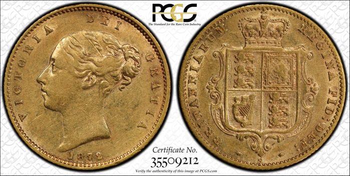Australia 1872 Sydney Half Sovereign PCGS AU55