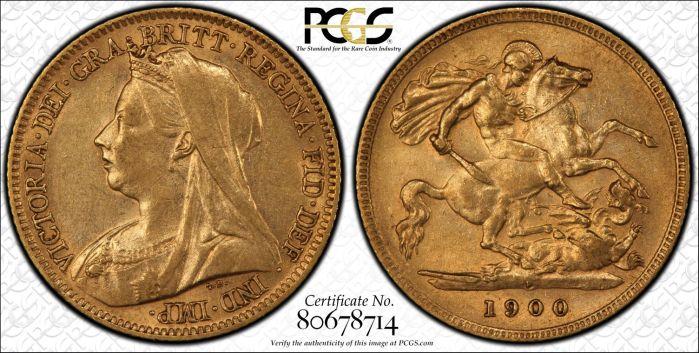 Australian 1900 Perth Half Sovereign PCGS AU53