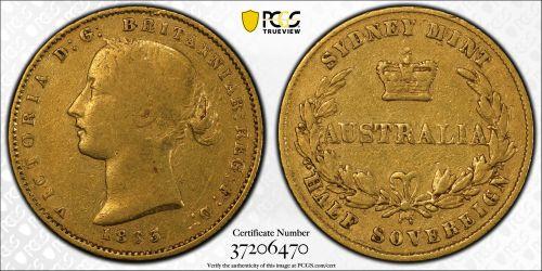 Australia 1863 Sydney Half Sovereign PCGS VF25