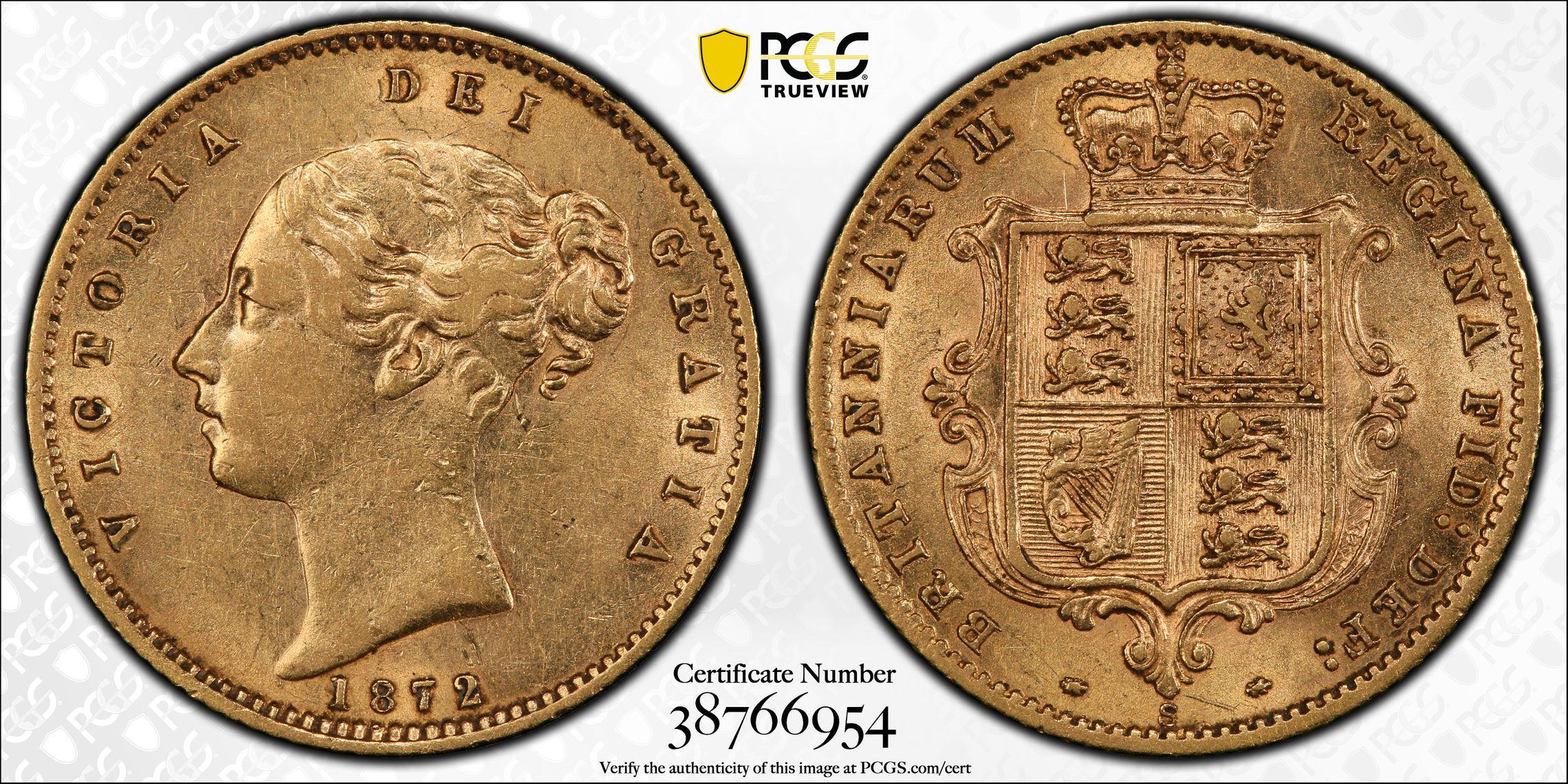 Australia 1872 Sydney Half Sovereign PCGS AU58