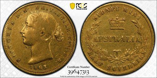 Australia 1863 Sydney Half Sovereign PCGS VF35